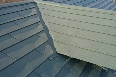 山梨県南アルプス市 屋根 カバー工法 横暖ルーフs(グリーン)