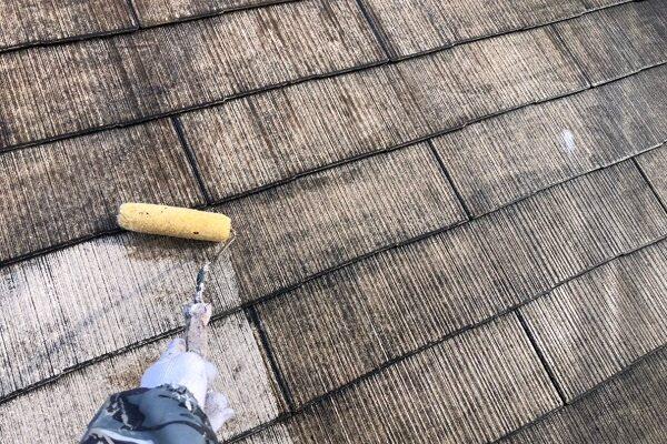 山梨県大月市 屋根塗装 雨樋工事 縁切り 3度塗り
