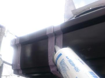 山梨県南都留郡にて外壁塗装用の雨どい補修!